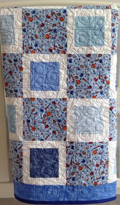 Baby Boy Quilt featuring Sports in Blue and by KimsQuiltingStudio