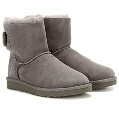 UGG Australia Mini Bailey Bow Suede Boots ($210) ❤ liked on Polyvore featuring shoes, boots, grey, suede boots, suede leather shoes, miniature shoes, gray shoes and grey suede shoes