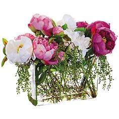 "Pink and White Peony 19"" Wide Faux Flowers in Glass Vase"