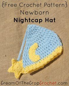 Crochet Newborn Nightcap Hat Pattern