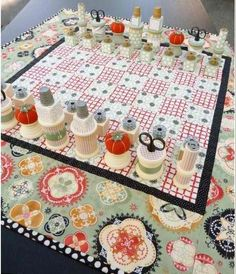 Quilt and Sewing Notions Chess Set - Dollar Store Craft Ideas You'll Love | Cool and Easy DIY Projects For The Home and More by Pioneer Settler at http://pioneersettler.com/dollar-store-crafts/