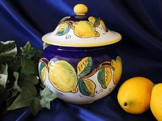 Deruta Pottery, Tuscan Lemons Biscotti Jar   eBay