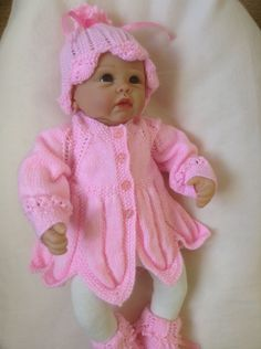 Baby Petal Matinee Set in Pink to fit 0-3 Month  Also Suitable for a 22 inch Reborn Baby Doll  Ready to Ship by Meganknits4charity on Etsy