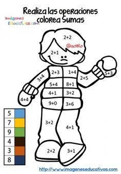 matemáticas para primer grado, sumas, dibujo para colorear por medio ...