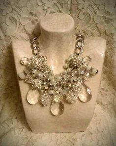 """Bridal Bliss"" Graduated Bib Necklace! Brilliant crystals & pearls...precision-cut, high-quality crystal rondelles & focal teardrops, faceted opaque rondelles, & clusters of creamy ivory pearls, oversized antique silver lobster closure & adjustable chain. Perfect compliment for a bridal gown OR little black dress!"