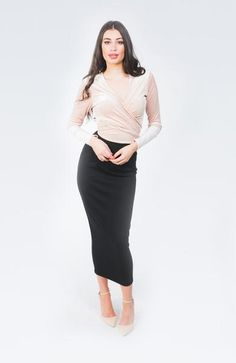 So choosing perfect skirt isn't a simple thing. Its spring and the shops are full of all sorts of warm footwear for those ladies. You see, everybody has a long quite similar. Black Lace Tops, Black Crop Tops, Black Laces, Fuchsia Dress, Gray Dress, Hobble Skirt, Maid Outfit, Calf Length Skirts, Leopard Dress