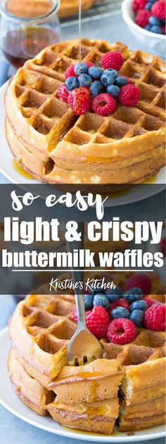 Light and crispy buttermilk waffles!! These healthier waffles are so quick and easy to make! Store them in your freezer for easy meal prep breakfasts! #waffles #breakfast #mealprep #buttermilk #realfood