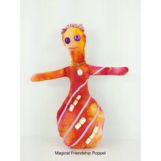 Girl Voodoo Doll, Spiritual handmade poppet with friendship intentions to bring happiness, harmony, devotion, joy. She's a fun mixed media piece of art.