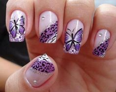Butterflies & Purple Prints #butterflynails #nailart #lavender- bellashoot.com