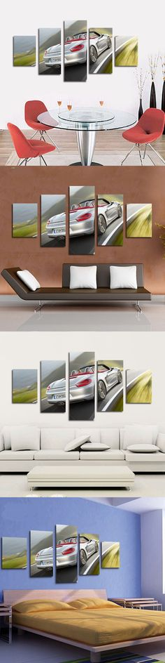 Wall Art Home Decor 5 Panel Modern Printed Luxury Car Picture Oil Painting Canvas For Bed Room Unframed
