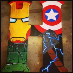 18 inch Superhero Hand Painted Wooden Letters-Superman, Spider-Man, The Hulk, Cptn America, Batman, Wolverine, Ironman, Flash, GreenLantern on Etsy, $35.00
