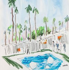 Richard Haines.   Palm Springs drawings up today and next week on @elledecor