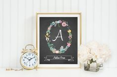 Monogram Nursery Wall Art, Chalkboard background, Cursive calligraphy, Beautiful pink, teal, & yellow floral wreath, banner to display name