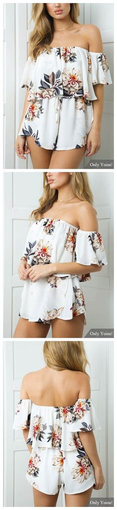 Sweet Random Floral Print Off-The-Shoulder Overlay Playsuits in White