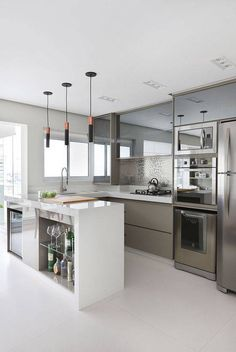 43 Contemporary Decor To Update Your Home Kitchen Room Design, Home Decor Kitchen, Interior Design Kitchen, Kitchen Furniture, Home Kitchens, Kitchen Ideas, Best Living Room Design, Living Room Designs, Living Rooms