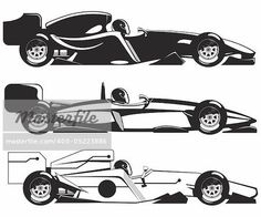vector illustration of formula 1. three sports racing car.