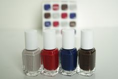 Essie Fall 2014 dressed to kilt color cube: Take it Outside (dusky gray neutral), Dressed to Kilt (cranberry red creme), Style Cartel (deep inky blue creme), Partner in Crime (dark chocolate brown)