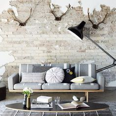 Industrial contemporary living room.