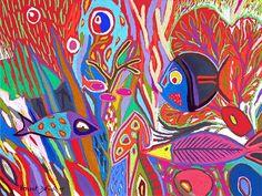 """Tableau """"La grande barrière de corail"""" de Vincent Dufour - Pastel sec de 50/65cm [tableau de style figuration libre et nouvelle figuration]"""