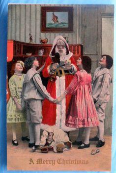 Santa Claus Children Antique Colored Photo Christmas Postcard circa 191o