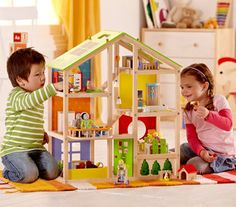 Furnished Dollhouse by Hape | Play Kids, www.playkidsstore.com