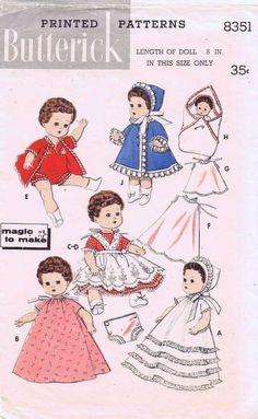 """ORIGINAL Doll Clothes PATTERN 8351 for 8"""" Baby Ginger Little Miss Betsy Ginette"""