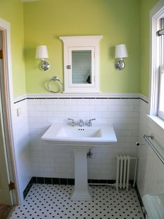 black and white tile bathroom - Google Search (green wall color with black and white tile bath)