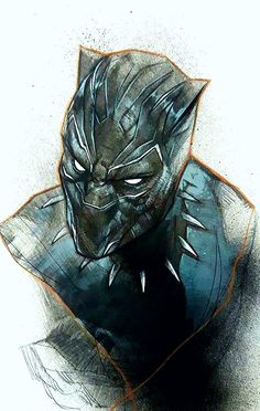 Black Panther by Ben Oliver Spray paint, acrylic, ballpoint pen and coloured pencil Black Panther Marvel, Black Panther Art, Marvel Comics Art, Marvel Heroes, Comic Character, Character Design, Wakanda Marvel, Ben Oliver, Panther Pictures