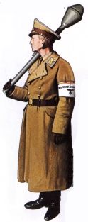 Volkssturm - the higher ranks, often Nazi party members, might wear their party uniforms