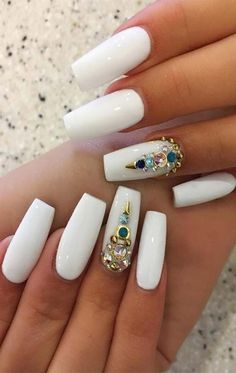 "Excellent ""acrylic nail art designs rhinestones"" info is readily available on our website. Have a look and you wont be sorry you did. White Coffin Nails, White Acrylic Nails, Best Acrylic Nails, Acrylic Nail Art, White Nails, Black Nails, Nail Art Designs, White Nail Designs, Acrylic Nail Designs"