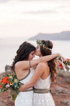 Colorful Bohemian Wedding Inspiration off the Coast of Santorini - Love Inc. Mag Colorful Bohemian Wedding Inspiration off the Coast of Santorini- flower crown- same sex couple shot Lesbian Wedding Photos, Cute Lesbian Couples, Lgbt Wedding, Lesbian Love, Wedding Pics, Wedding Couples, Muslim Couples, Dress Wedding, Lesbian Beach Wedding