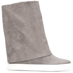 Casadei foldover boots (4,065 HKD) ❤ liked on Polyvore featuring shoes, boots, grey, gray shoes, grey fold over boots, genuine leather boots, fold-over boots and grey leather boots
