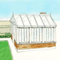 Bygga orangeri/växthus steg för steg.25. Ursprungsskissen till växthuset. I stort sätt som det var tänkt. #takläkt #renovera #fönster #takstol #hammarband #stomme #kalkfärg #slamma #linolja #orangeri #orangerie #uterum #mys#trädgård #diy #byggbeskrivning #bygger #tegel #mura #växthus #garden #DIY #GDS Dreams, Photo And Video, Garden, Lawn And Garden, Gardens, Outdoor, Home Landscaping, Tuin