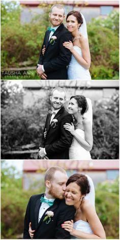 Adorable portrait of Bride + Groom | Holding the groom | Kiss on the Cheek | South Paris, Maine | King's Hill Inn | Veil | Blue | Bow Tie | Photo by Tausha Ann Photography