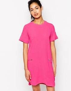 Neon Rose Shift Dress With Zip Detail