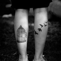 I'd have the cage on the back of my arm & one bird above the inside of my elbow ... <3 this