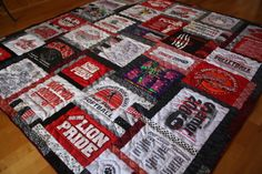 t shirt Quilt using college shirts from www.Etsy/shop/Quiltsfromclothes