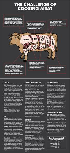 cow beef cuts The Challenge of Cooking Meat cuts The Challenge of Cooking Meat Meat Cooking Chart, Cooking Beef, Carne Asada, Beef Cuts Chart, How To Cook Beef, Roast Recipes, Smoker Recipes, Barbecue Recipes, Smoking Meat