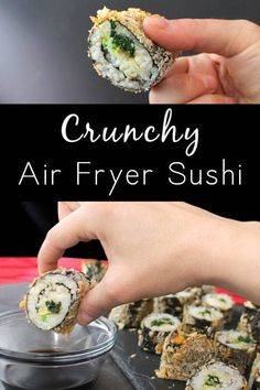 Y'all, I am crazy for these delicious Air Fryer Sushi Rolls! They're crunchy, filling, and so, so fun to make! Air Fryer Recipes Vegan, Air Frier Recipes, Air Fryer Dinner Recipes, Air Fryer Healthy, Vegan Recipes, Recipes Dinner, Vegan Food, Yummy Recipes, Dinner Ideas