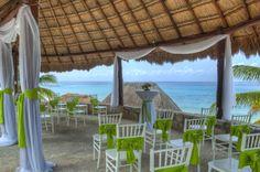 lime green beach wedding at Cozumel