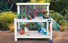 This handy piece of outdoor furniture will serve as headquarters for your gardening gear