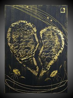 Art on Sale Acrylic Painting Abstract Broken Heart canvas Black Gold Flower Contemporary Art Thick Textured 20 x 28 FREE SHIPPING. $122.22, via Etsy.