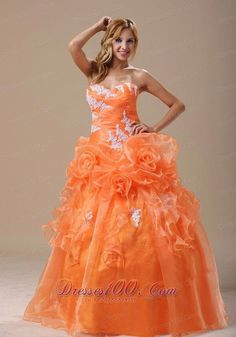 4edca9c85a Buy orange quinceanera dress with hand made flowers and appliques for 2014  from orange quinceanera dresses collection
