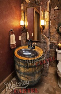 whiskey-barrel-sink-hammered-copper-rustic-antique-bathroom-bar-man-cave-vanity-wine-oak-barrel-vanity-bourbon-custom-personalized/ delivers online tools that help you to stay in control of your personal information and protect your online privacy. Rustic Bathroom Designs, Rustic Bathroom Vanities, Rustic Bathrooms, Bathroom Ideas, Bathroom Remodeling, Basement Bathroom, Man Cave Bathroom, Small Bathroom, Wine Barrel Sink Bathroom