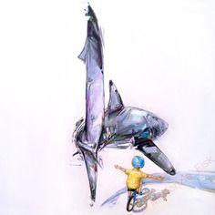 Shark illustration - Modern wall art - surrealism print - fine art print - living room decor - nursery decor - painting by McKenzie Fisk