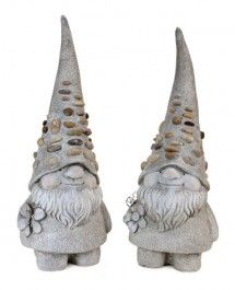 Set of 2 Cheerful Garden Gnome Statues with Pebble Crusted Hats Funny Garden Gnomes, Gnome Statues, Gnome House, Concrete Projects, Love Garden, Tropical Garden, Fairy Houses, Cold Porcelain, Garden Sculpture