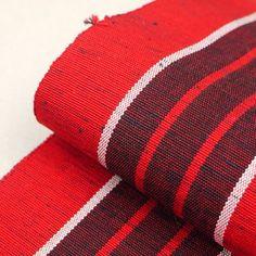 Red, stripe hanhaba obi / 縞柄を施した薄手単衣タイプの半幅帯 http://www.rakuten.co.jp/aiyama #Kimono #Japan #aiyamamotoya