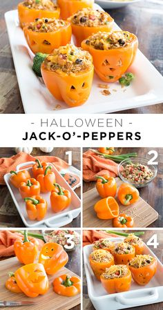 Add a little Halloween fun to dinner with bell peppers carved like jack-o'-lanterns. For the stuffing we used a southwestern chicken and rice mix, but you could easily replace it with tuna salad, a vegetarian quinoa salad—whatever delicious dish that works best for your family. Start with large orange bell peppers. Remove the tops and scrape out the seeds. Next carve out jack- o'-lantern faces. Fill with your favorite stuffing and serve!