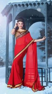 Give in to the exotic look like Jacqueline Fernandez by wearing this classy crimson georgette border saree which is adorned with a stone work all over and resham embroidery, lace work on the side parts. Beautiful embroidered dhupion blouse piece combined with this attire. The blouse of this saree can be stitched in the maximum bust size of 40 inches...