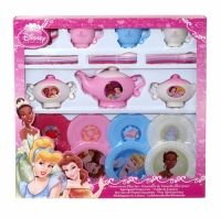 Disney Princess Dinnerware Play Set The set includes: teapot, Creamer, Sugar bowl, 4 dinner plates. 4 tea cups, 4 sMALL PLATES, 4 knives, forks and spoons